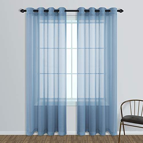 Dusty Blue Curtains for Living Room Set of 2 Panels Grommet Window Sheer Curtain Panels 52 x 84 Inches Long