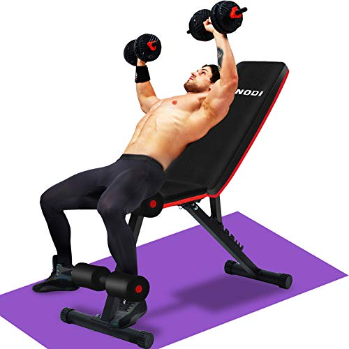 LINODI Adjustable Weight Bench, Workout Bench for Home Gym, Multi-Purpose Foldable Incline Decline Gym Bench, Strength Training Benches for Full Body Workout