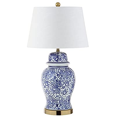 "JONATHAN Y JYL3008A Ellis 29.5"" Ceramic LED Table Lamp, Traditional for Bedroom, Living Room, Office, Blue/White"