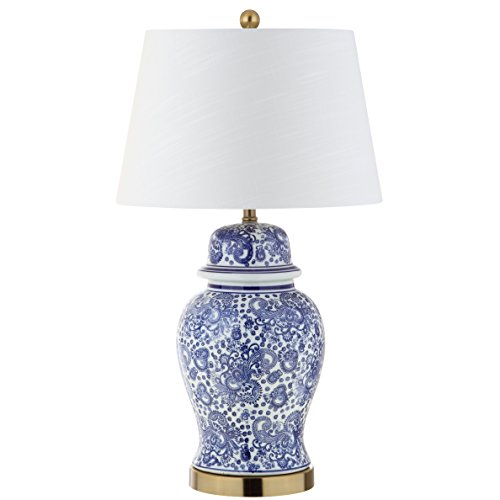 """JONATHAN Y JYL3008A Ellis 29.5"""" Ceramic LED Table Lamp, Traditional for Bedroom, Living Room, Office, Blue/White"""