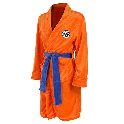 zyeziwhs Herren Bademantel Nachtwäsche Lässige knielange Cosplay Robe mit Gürtel Pyjama Umhang Weich Gemütliches Fleece für Herbst Winter Orange