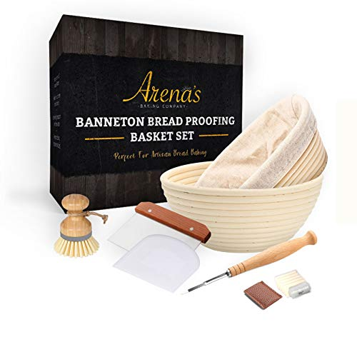 Banneton Bread Proofing Basket Set For Bread Baking and Sourdough Bread Includes Oval and Round Baskets, Liners, Metal Dough Cutter, Lame Bread Tool, Extra Blades, Bowl Scraper, Bamboo Cleaning Brush