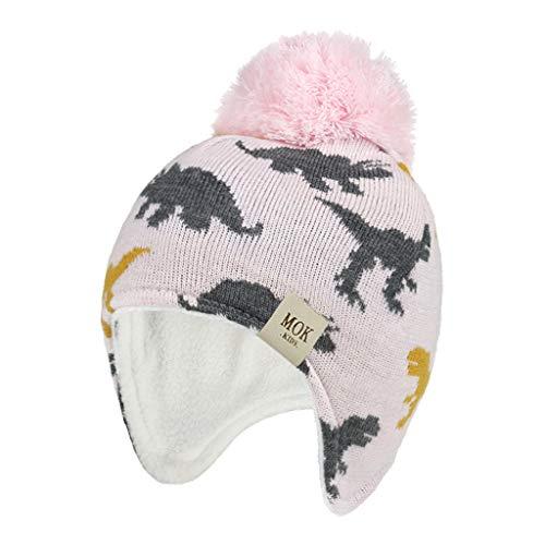 PHILSP Sombrero de bebé 2020 Nuevo Sombrero de Invierno para bebés y niñas, Gorro de Invierno con Forro Polar a Prueba de Viento, Gorro cálido Rosa S