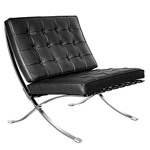 Sofá esquinero de tela en forma de L, sofá de 3 plazas con tumbona otomana, lado izquierdo y derecho, silla plegable de piel auténtica (negro)