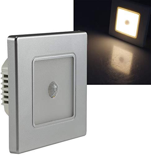 ChiliTec LED Wand Einbauleuchte mit Bewegungsmelder 120° I Unterputz Montage Ø 60-68mm I 2,5 Watt I 86x86x33mm I Rahmen Silber Lichtfarbe Warmweiß