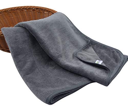 KinHwa Microfaser Handtücher 2er Set | Stark Wasserabsorbierendes Mikrofaser Handtuch, Mikrofaser Badetuch, Super Weich Duschtücher | 40cm x 76cm | Schnelltrocknend & Saugstark | Grau