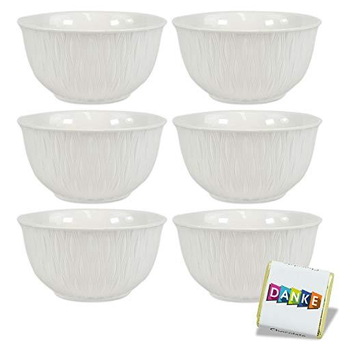 Porzellan Schalen Set 6 teilig 400ml · Müslischalen Set · weiße Schüsseln · Obstschale Suppenschüssel Salatschale Eisschale Ramenbowl · Bunte Schalen · Porzellan Schüssel (Ewito)