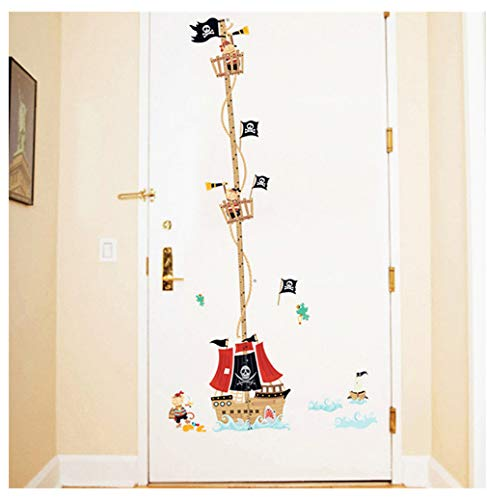 DIY barco pirata medidor de altura pegatinas sala de niños dormitorio altura medida pegatinas de pared decoración del hogar 88 * 158 cm