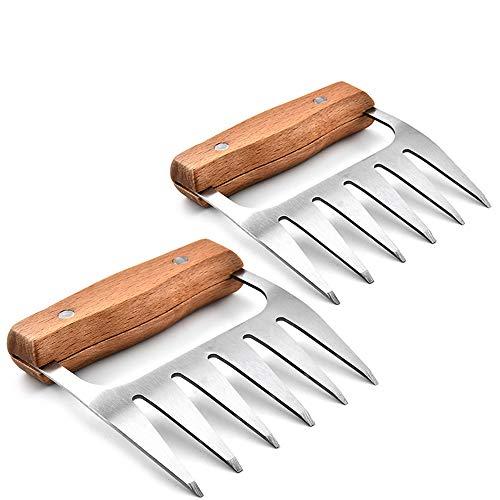 IWILCS Garras para Carne, 2 Garras para Parrilla, Garras para Carne, Tenedores con Mango de Madera, Garras de Oso de Acero Inoxidable para agarrar Picar desgarrar Carne de Pollo