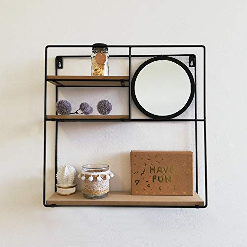 Koopman Wandregal mit rundem Spiegel 40x10xH40cm Metall Schwarz, Wandboard Wandablage Hängeregal Metallregal