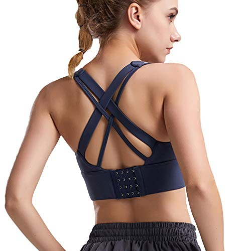 Sujetador Deportivo de Yoga para Mujer Bra t-Shirts Fitness Workout Camisetas Camisa de fruncir a Prueba de Golpes Cruz Hermosa Espalda Superior Sin Llantas Camiseta sin Mangas Activewear,Azul,L