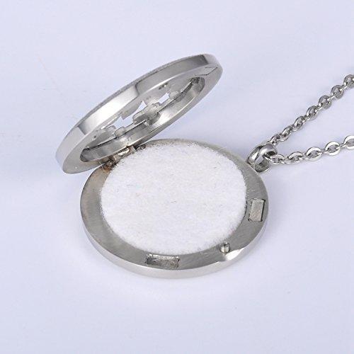 HOUSWEETY Collier Pendentif Rond Diffuseur de Parfum ou d'Huiles Essentielles Motif Arbre de Vie Cisele