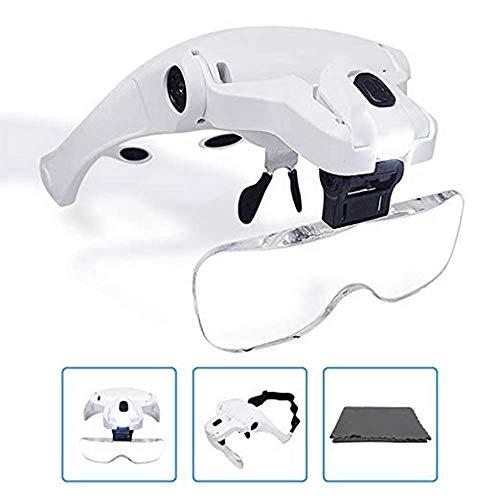 KKmoon Lupe Stirnband Brille Lupe【5 Objektiv/ 1.0 X-3,5 X/ Verstellbare Halterung/ mit 2 LED-Leuchten/ Lupe Werkzeug】