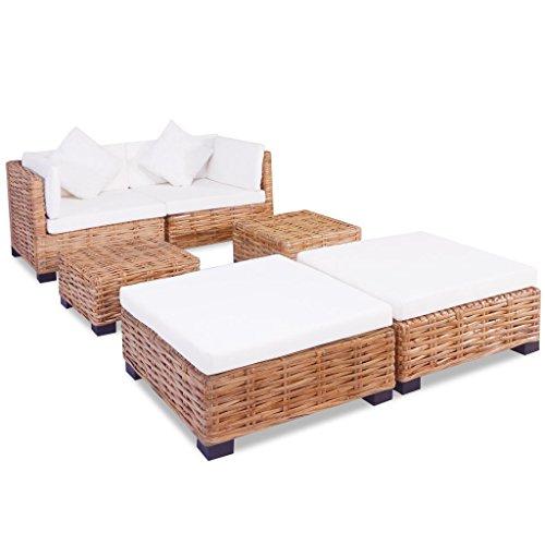 lingjiushopping Set 16 pièces canapé en rotin naturel couleur du rotin : marron couleur du coussin : Blanc