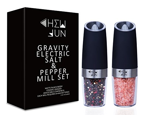 CHEW FUN Electric Gravity Salt and Pepper Grinder Set