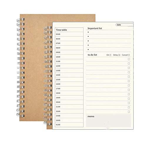 SUNSHINETEK Daily Planner Block notes 4 pezzi da fare Elenco Notebook Personal organizer con copertina Kraft marrone
