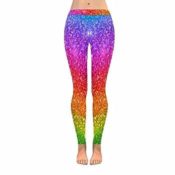 InterestPrint Multicolored Rainbow Glitter Sparkling Women s Stretchy Capri Leggings Yoga Running Pant XXL