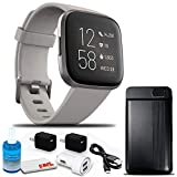 Fitbit Versa 2 Smartwatch with Band (Stone/Mist Gray with Silicone Band) Bundle with Power Bank, 2-Port USB Car Adapter, Two USB Wall Adapters, 6Ave Cleaning Kit, and 1 Year Extra Warranty