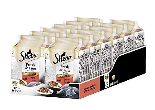 Sheba Fresh & Fine in Sauce – Nassfutter für Katzen – Herzhafte Komposition – Für die tägliche Abwechslung im extra kleinen Portionsbeutel – 72 x 50g