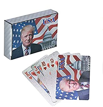 POPOUGE Donald Trump 24K Gold Foil Playing Cards - Waterproof Gold Plated Deck Poker Cards Game, for Table Games, Poker Cards Games, Magic Props, Good Gift for Men