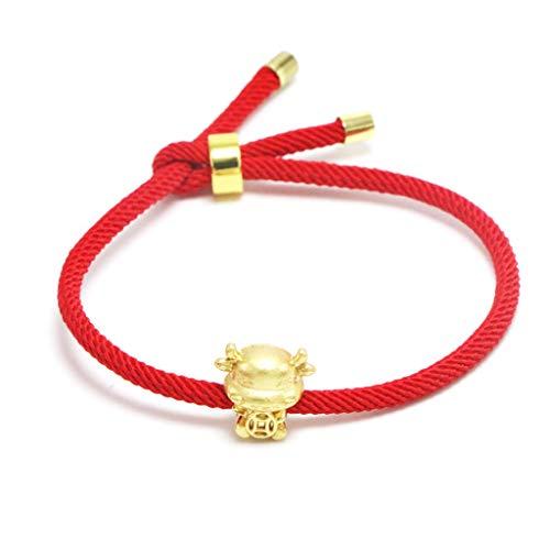 Team99 Pulsera de cuerda roja de vaca dorada 2021 buey chino, año nuevo, tradición del zodiaco, mascota de vaca fortunas, pulseras de bendición de la suerte