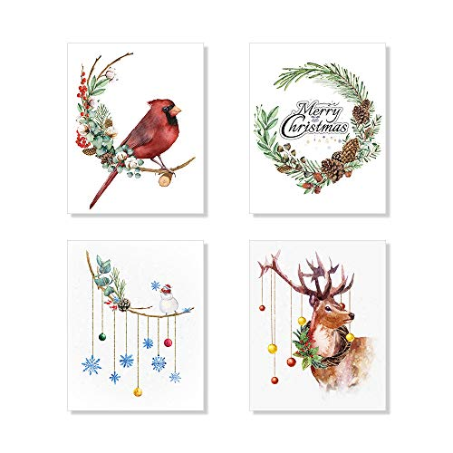 Cardinals on a Brand, Reindeer with Christmas Wreaths Art Prints Christmas Decoration Posters Wall Art Set of 4 Unframed 8x10 inches