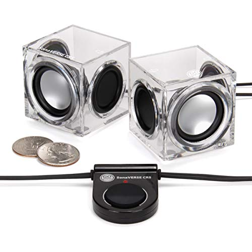GOgroove SonaVERSE CRS Clear Cube USB Powered Wired PC Speakers with 2.0 Stereo AUX 3.5mm Input, Dual Passive Woofers, 6W Output, Mini Ice Block Acrylic Design for Laptops, Office, Industrial Decor