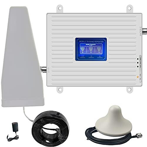 4G 3G 2G Amplificatore Segnale Ripetitore GSM LTE 900 2100 1800 MHz per chiamate e dati Segnale 2G 3G e 4G a casa/Ufficio (900/1800/2100mhz band1/3/8)