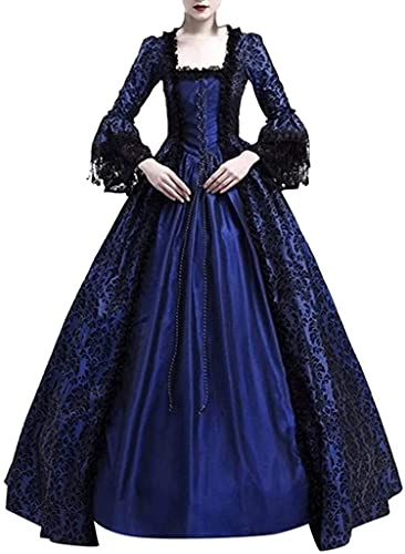 Babaseal Vestido gtico de popelina victoriana para Halloween Lolita Bruja Disfraz de bruja, Azul marino/flor y brillo, XXX-Large