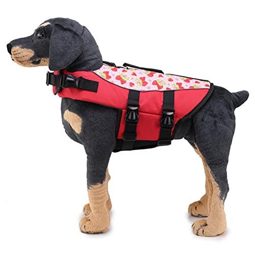Q-YR Chaleco Salvavidas para Perros Chaleco Pet Flotación Capa De Traje De Baño con Mango De Rescate para La Seguridad del Agua En La Playa, Piscina, Navegación,Rojo,S