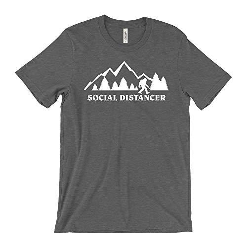 Social Distancer Bigfoot Men's and Women's Quarantine Social Distancing Premium T-Shirt (Deep Heather Grey - Large)