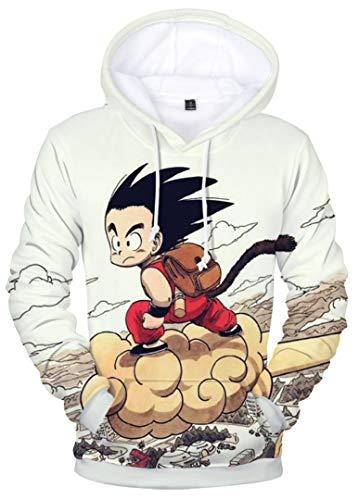 Silver Basic Uomo Dragon Ball Felpa con Cappuccio Son Goku Manica Lunga 3D Stampo Shirt,Son Goku-2,2XL…