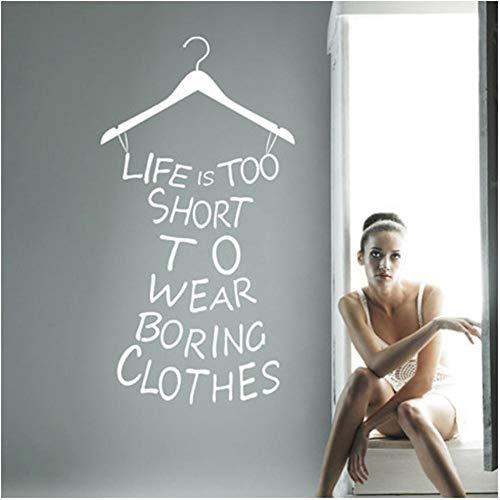 Kleidergeschäft Aufkleber für Kleiderschrank Dekoration, Wandaufkleber mit Kleiderbügel für Mädchen Kleiderschrank Dekoration versandkostenfrei 58cmx28cm