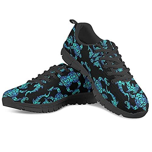 Hinewsa 3D Tribal Sea Turtle Hawaiano Casual Señoras Pisos Zapatos Mujer Con Cordones De Malla Transpirable Zapatillas De Deporte De Aire De Malla, Hx402baq, 42 EU