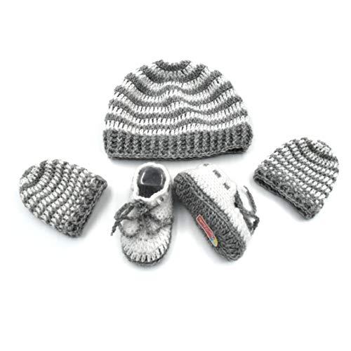 Magic Needles Handgefertigtes Strickset für Babyschuhe, Babyschuhe, Fäustlinge und Mütze Gr. 6-12 Monate, Unisex Grey White Stripes