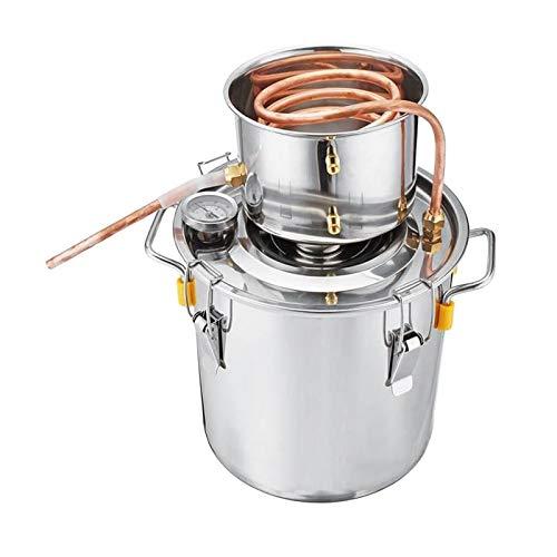 Baoblaze Moonshine Still Spirits destilador de Alcohol de Agua Tubo de Cobre Kit de fabricación de Vino Artesanal Caldera de Acero Inoxidable, fácil de operar - 5L