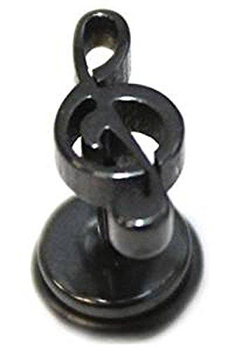 Falso dilatador de acero quirúrgico inoxidable de color plateado con diseño de clave de sol para hombre - Estilo gótico