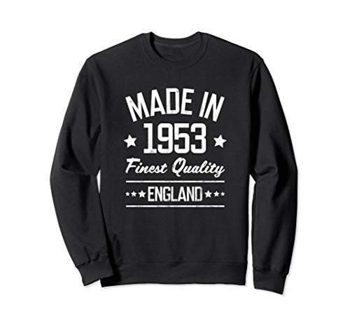 Gift for 67 Year Old Made in 1953 England White Print Sweatshirt