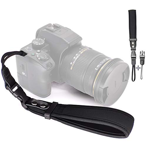 Ruberg Handschlaufe Handgelenk-Schlaufe Kamera Armband Universal Kameragurt Verstellbar Neopren Kamera Handschlaufe für Canon Nikon Sony Fujifilm Olympus DSLR SLR Schwarz