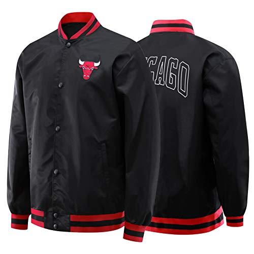 Chicago Bulls Jacken, Herren Basketball Gesticktes Logo Sport und Freizeit Basketball Anzüge Atmungsaktiv Sweatshirt Fans Outdoor S~2XL Gr. L, Schwarz