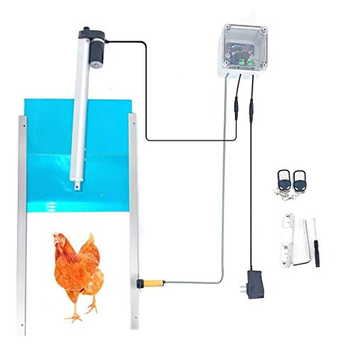 """Lfhelper Automatic Chicken Door Coop Opener Kit with Timer, Remote Control Design, 12V DC Power Supply, 12.6""""Wx11.8 H"""