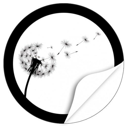 20 x Etiketten Trauer, rund/Pusteblume/Beerdigung/Beileid/Tod/Bestattung/Bestatter/Bestattungsunternehmen/Aufkleber für Umschläge