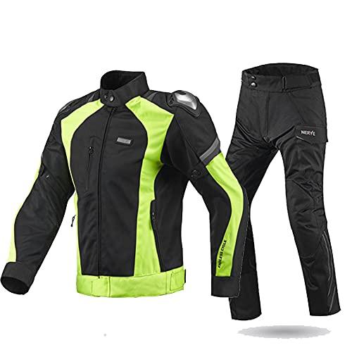 LITI Traje De Moto para Hombre Chaqueta De Motocicleta + Biker Pants 2 Piezas con Protecciones CE para Hombre, Deportista