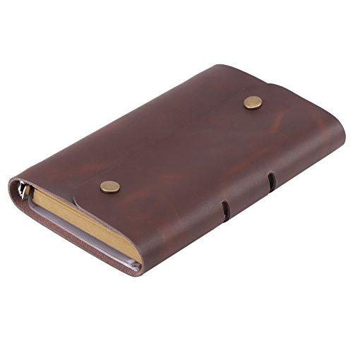 Lederen notitieboekje voor mannen en vrouwen, navulbaar notitieblok Vintage gepersonaliseerd reisdagboek, bruin kleur lederen notitieboekje A6 Gift