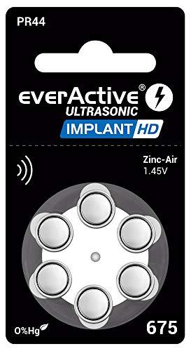 everActive 675 - Confezione da 6 batterie per apparecchi acustici, alta potenza, batterie zinco ad aria compressa, 1 blister, durata 4 anni, blu, Implant HD PR44