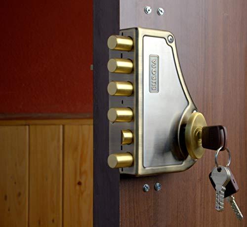 Europa Locks Antique Brass Hexabolt Main Door Lock (Brown, 18 mm)