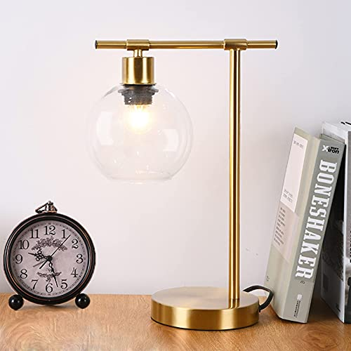 Popity home Industrial Gold Desk Lamp, Vintage Bedside Nightstand Table Lamps, Glass Shade Metal Office Reading for Living Room Bedroom Dorm