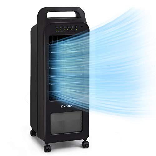 Klarstein Cooler Rush - Climatizador de aire 3 en 1, Caudal aire 132 m³/h, Potencia 45 W, Depósito agua 5,5 L, Temporizador ajustable, 4 velocidades, Indicador nivel agua, Pantalla LED, Ruedas, Negro