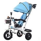 Cochecito de bebé Exclusivo para niños de 1-6 años Bicicleta de Triciclo para niños | Reposabrazos Ajustable | Embrague | Arnés de Seguridad | Frenos | Portavasos (Azul)