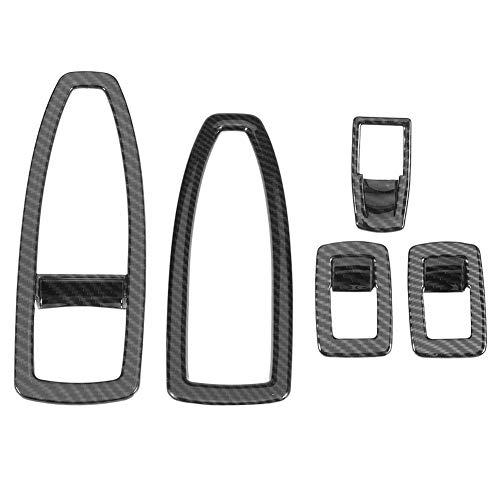 KIMISS 5 Stücke Kohlefaser Stil Auto Fenster Lift Taste Rahmenabdeckung Trim Set für 3 Serie F30 13-18